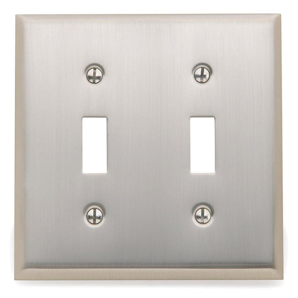 Beveled Edge 2 Toggle Wall Plate - Satin Nickel