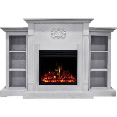 Sanoma 72 in. Electric Fireplace Heater in White with Mantel, Bookshelves, Enhanced Multi-Color Log Display and Remote