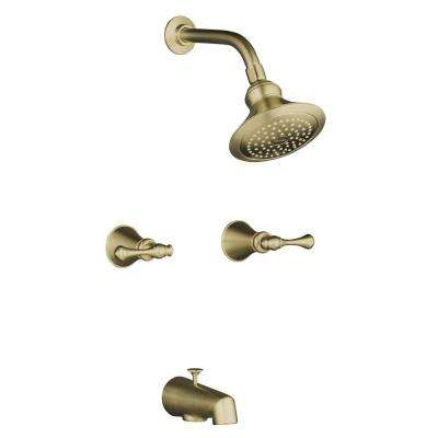 Revival Bath and Shower Faucet with Traditional Lever Handles and Flange in Vibrant Brushed Bronze (Valve Included)
