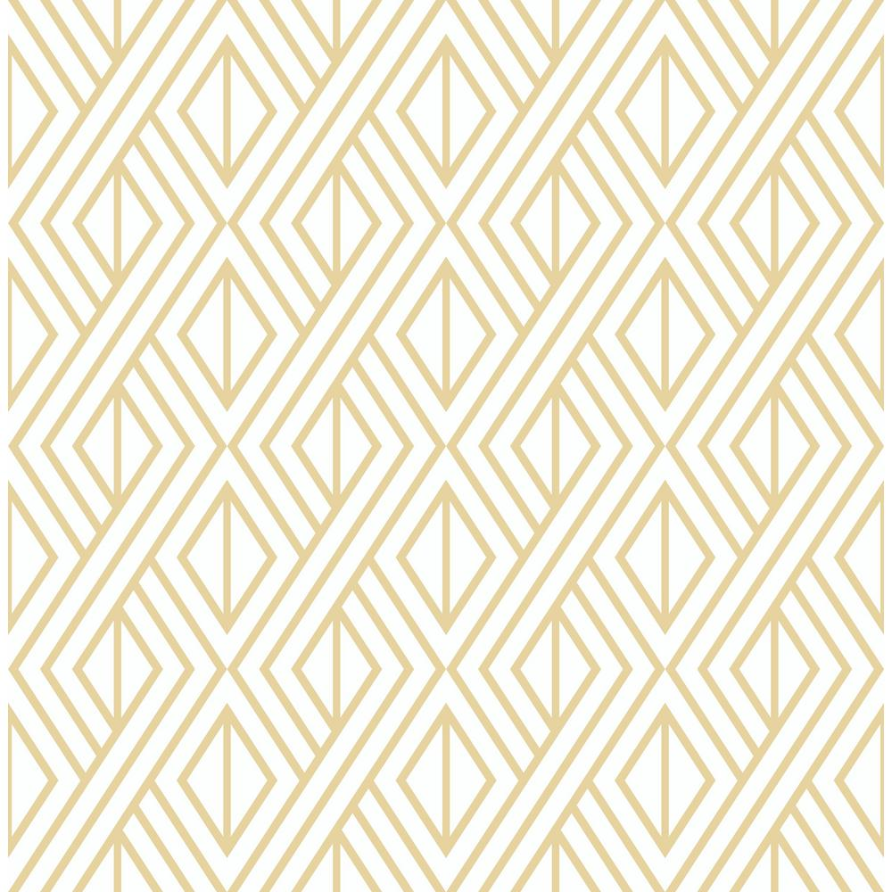 NextWall NextWall Gold Diamond Geometric Peel and Stick Wallpaper, Metallic Gold & White