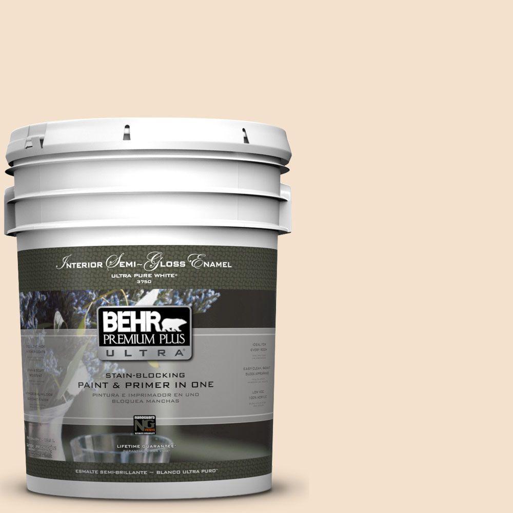 5-gal. #BWC-08 Pebble Cream Semi-Gloss Enamel Interior Paint