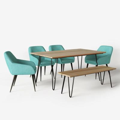 Marley 6-Piece Solid Hardwood and Metal 66 in. Wide Dining Set with Bench, 4 Upholstered Dining Chairs in Aqua Blue