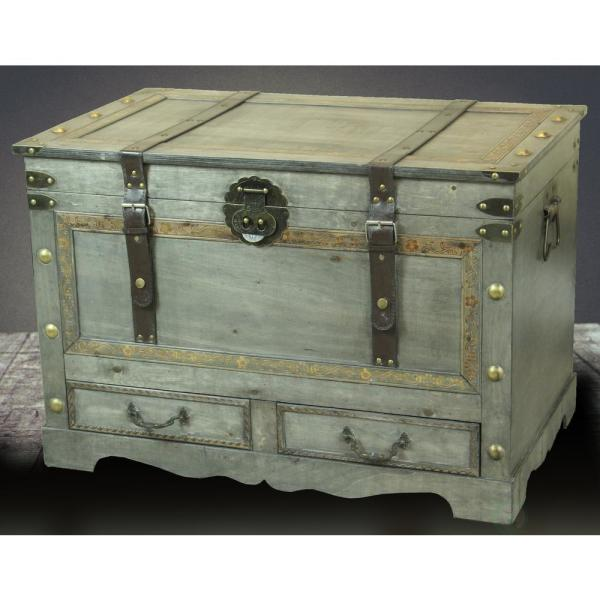 Rustic Gray Large Wooden Storage Trunk Coffee Table With 2 Drawers