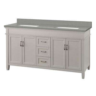 Ashburn 61 in. W x 22 in. D Vanity Cabinet in Grey with Engineered Quartz Vanity Top in Sterling Grey with White Basins