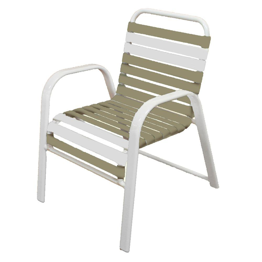 Marco island white commercial grade aluminum vinyl strap outdoor dining chair in putty and white 2 pack 3200 w pw the home depot