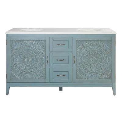 Chennai 61 in. W x 22 in. D Bath Vanity in Blue Wash with Engineered Stone Vanity Top in Crystal White with White Sinks
