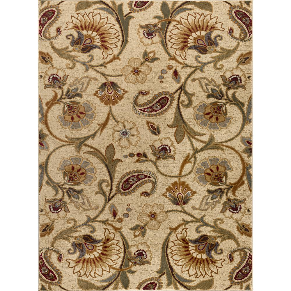 Tayse Rugs Impressions Ivory 7 ft. 10 in. x 10 ft. 3 in. Transitional Area Rug