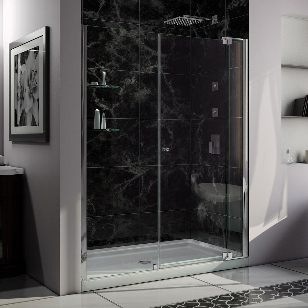 DreamLine Allure 32 in. x 60 in. x 75.75 in. Semi-Framed Pivot Shower Door in Chrome with Left Drain White Acrylic Base