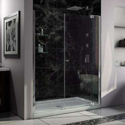 Allure 34 in. x 60 in. x 75.75 in. Semi-Framed Pivot Shower Door in Chrome with Right Drain White Acrylic Base