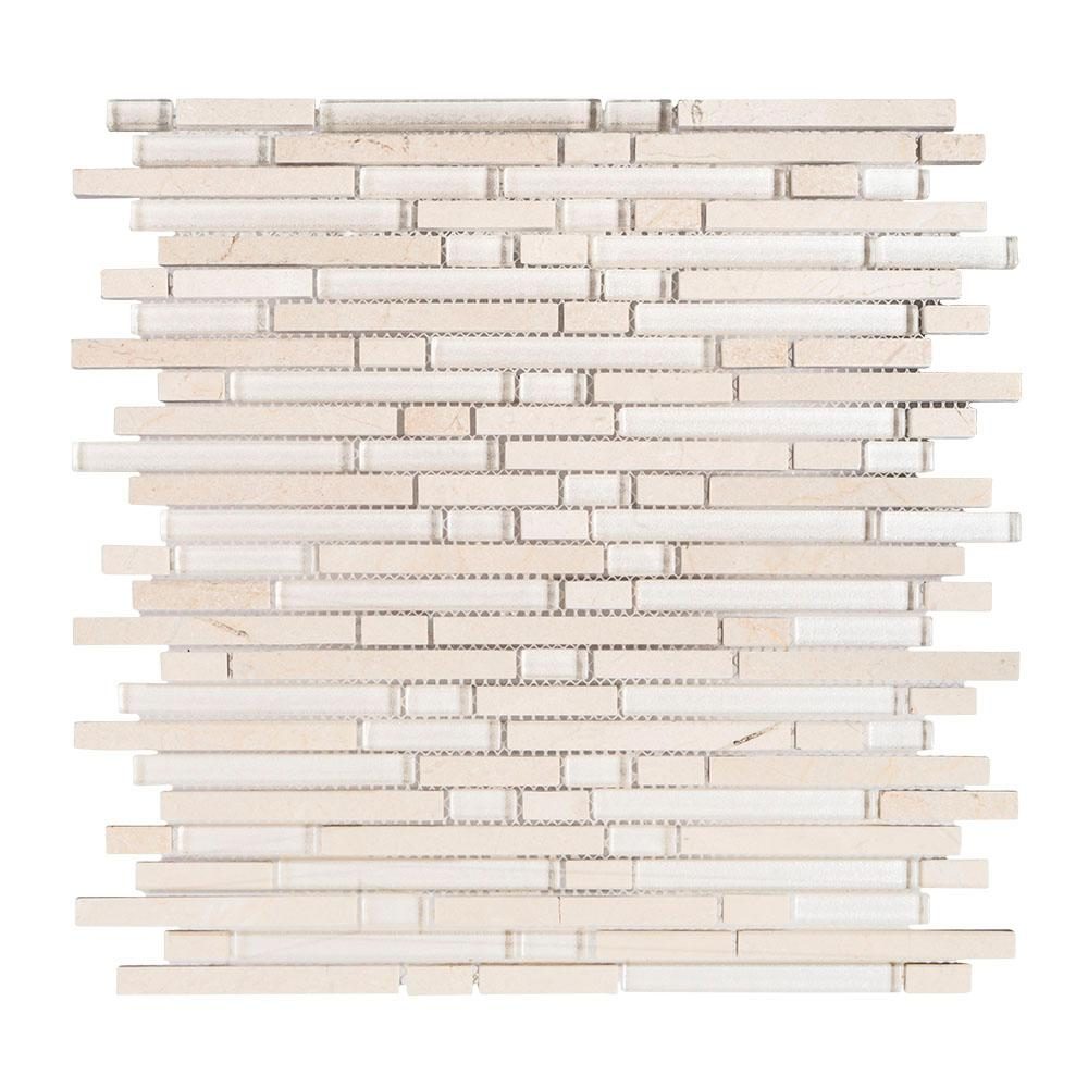 Haystack 11-1/2 in. x 12 in. Glass/Stone Mosaic Tile