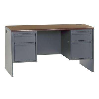800 Series Double Pedestal Credenza Steel Desk in Charcoal/Mahogony