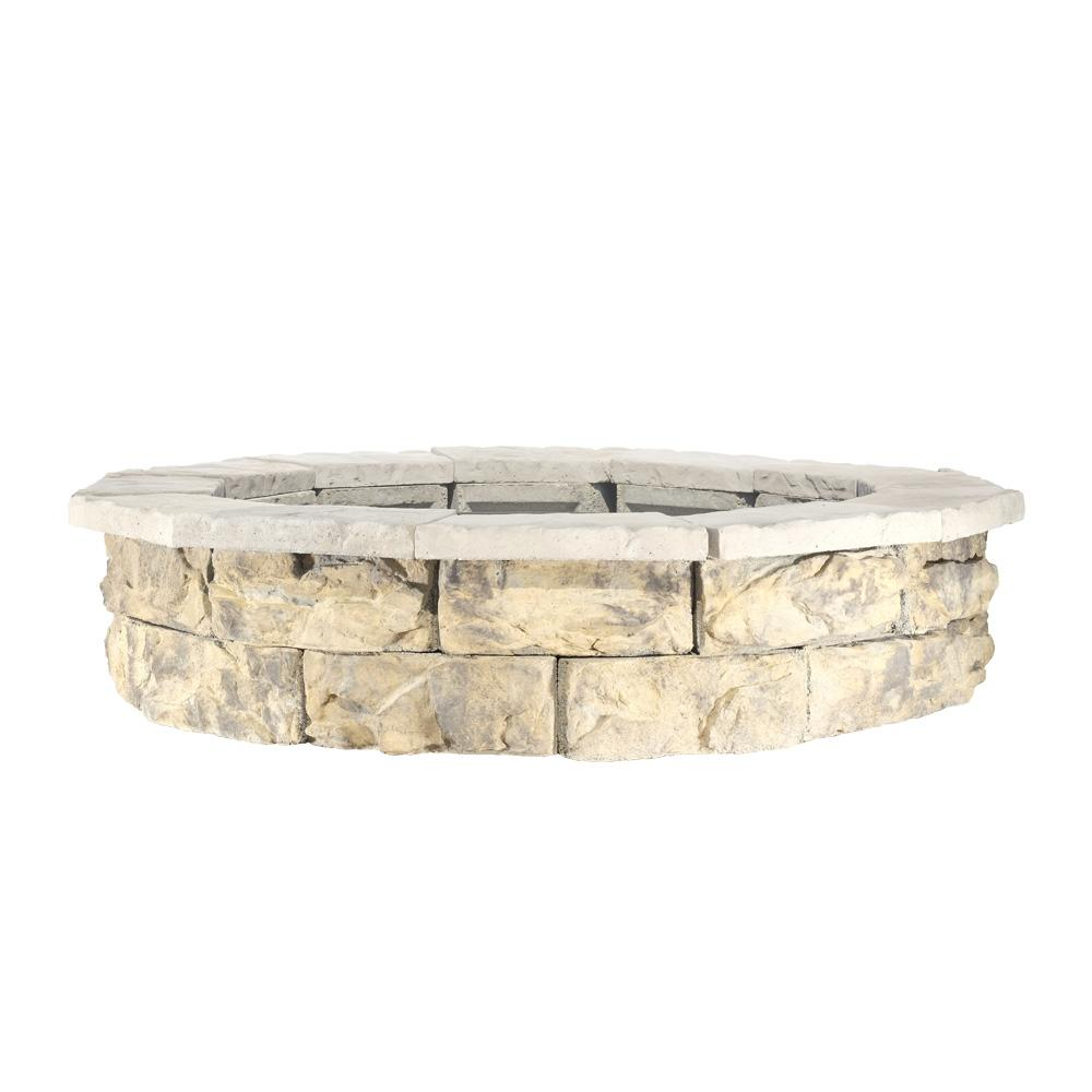 null 44 in. x 14 in. Metal Wood Fossill Limestone Round Fire Pit Kit