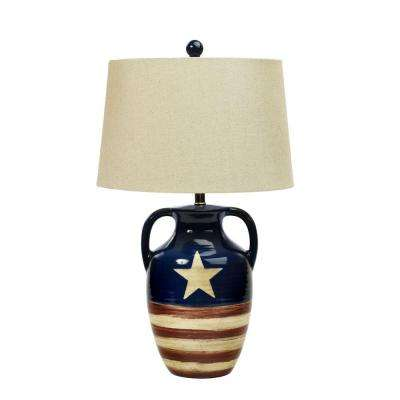 26 in. Star Spangled Banner Flag Ceramic Table Lamp