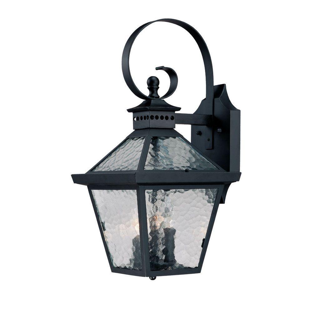 Bay Street Collection 3-Light Matte Black Outdoor Wall-Mount Fixture