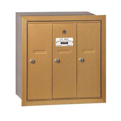 3500 Series Brass Recessed-Mounted Private Vertical Mailbox with 3 Doors
