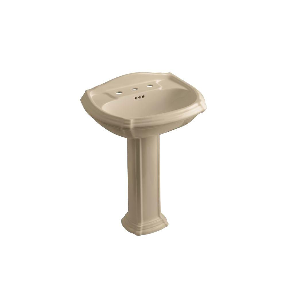 KOHLER Portrait 8 in. Vitreous China Pedestal Bathroom Sink Combo in Mexican Sand with Overflow Drain