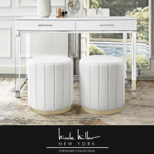 Awe Inspiring Nicole Miller Mohit White Gold Leather Round Ottoman With Evergreenethics Interior Chair Design Evergreenethicsorg