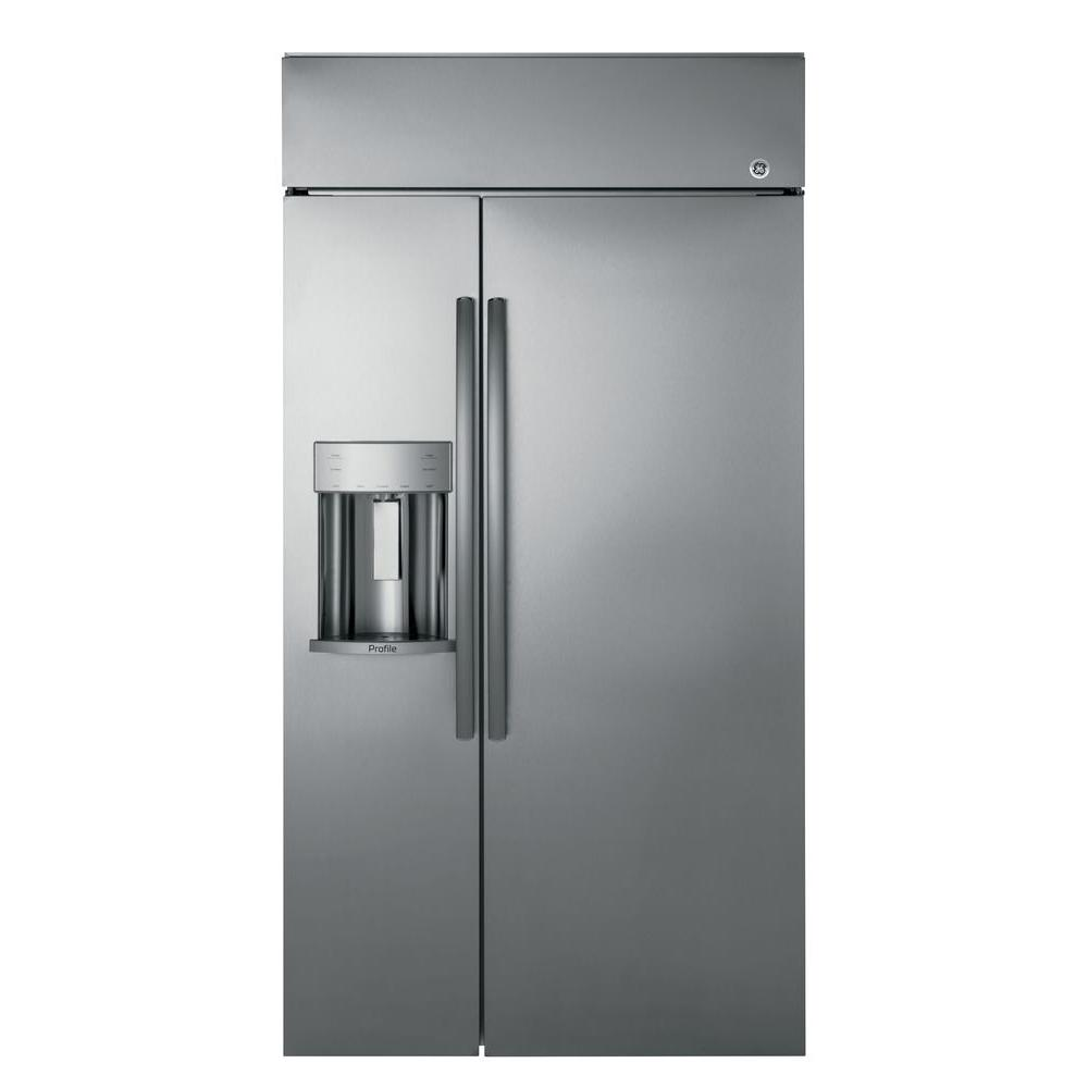 GE Profile 42 In. W 24.3 Cu. Ft. Built In Side By Side Refrigerator In  Stainless Steel PSB42YSKSS   The Home Depot