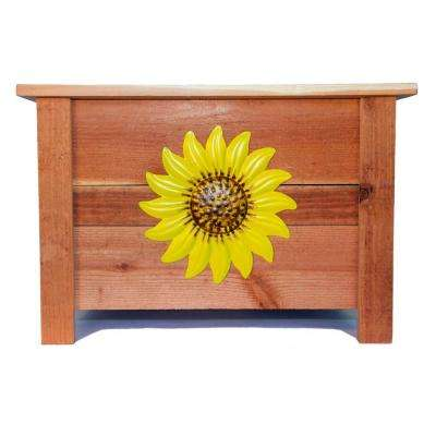 24 in. x 24 in. Redwood Planter with Painted Metal Sunflower Art