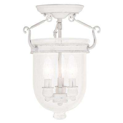 Jefferson 3-Light Antique White Flushmount