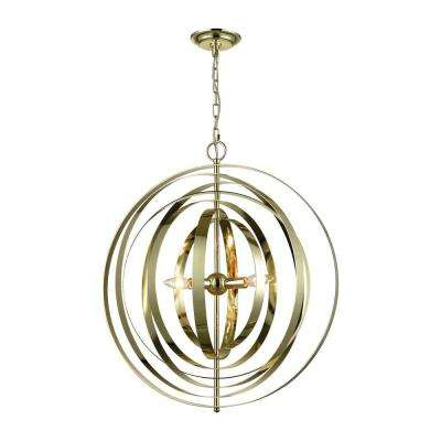 Synchrony 3-Light Gold Plate Round Chandelier