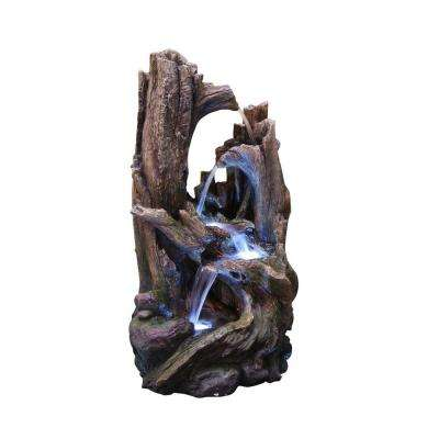 Outdoor 5-Tier Tree Trunk Water Fountain with LED Lights