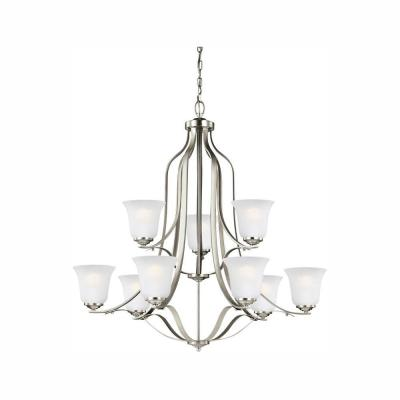 Emmons 9-Light Brushed Nickel Chandelier with LED Bulbs