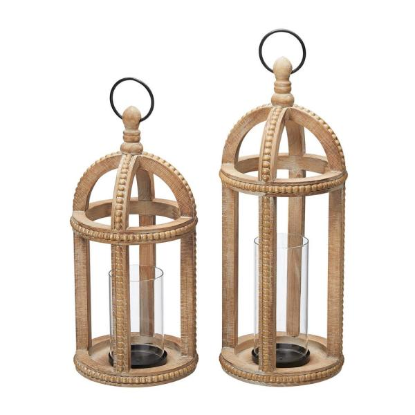 Home Decorators Collection Antiqued Wood Candle Hanging or Tabletop Lantern with Beaded Trim (Set of 2)