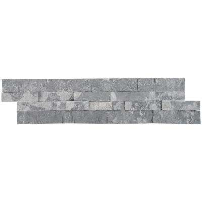 Glacial Grey Splitface Ledger Panel 6 in. x 24 in. Natural Marble Wall Tile (10 cases / 60 sq. ft. / pallet)