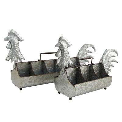 Galvanized Iron Rooster Planters (2-Set)