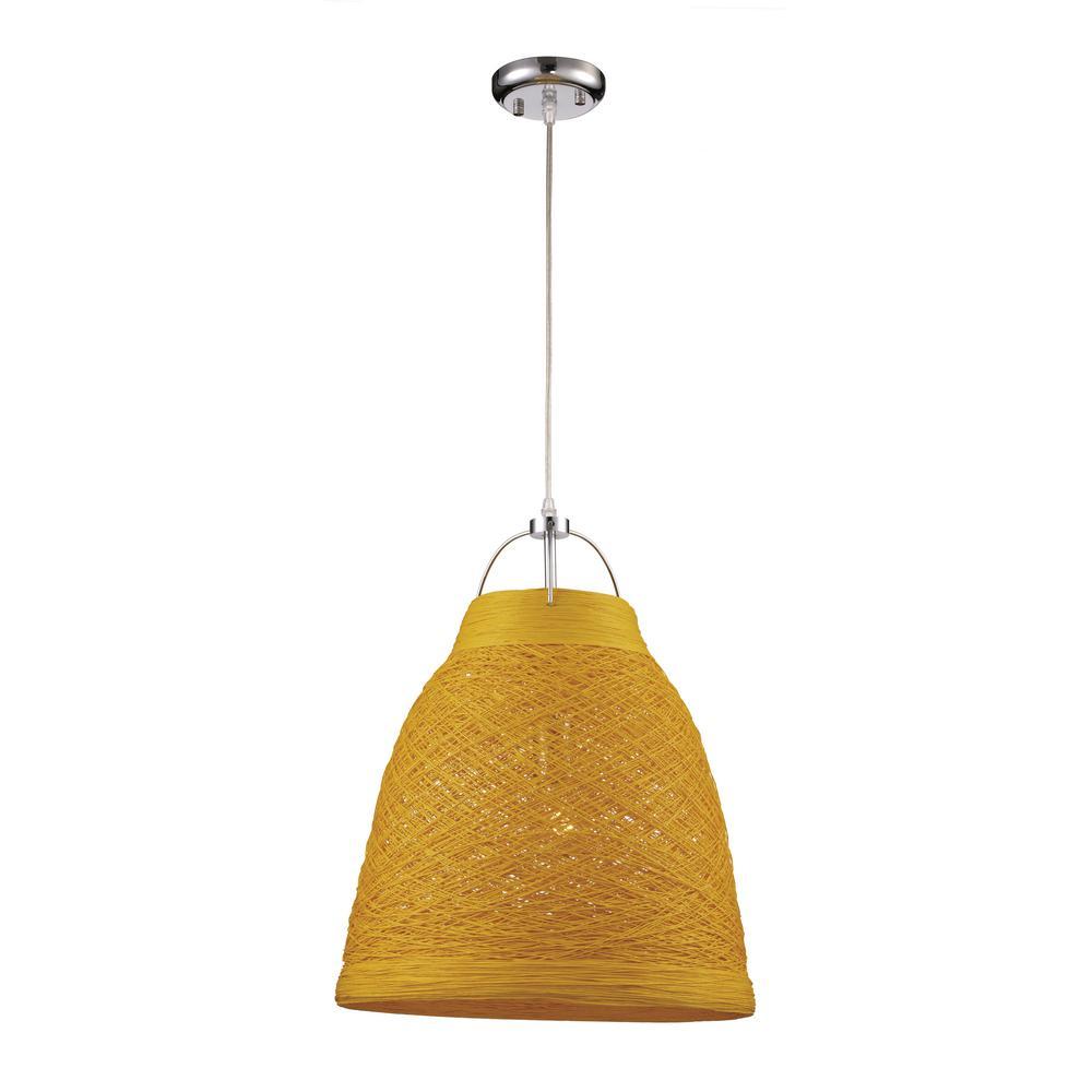 Basketweave 1-Light 23 in. Yellow Indoor Pendant