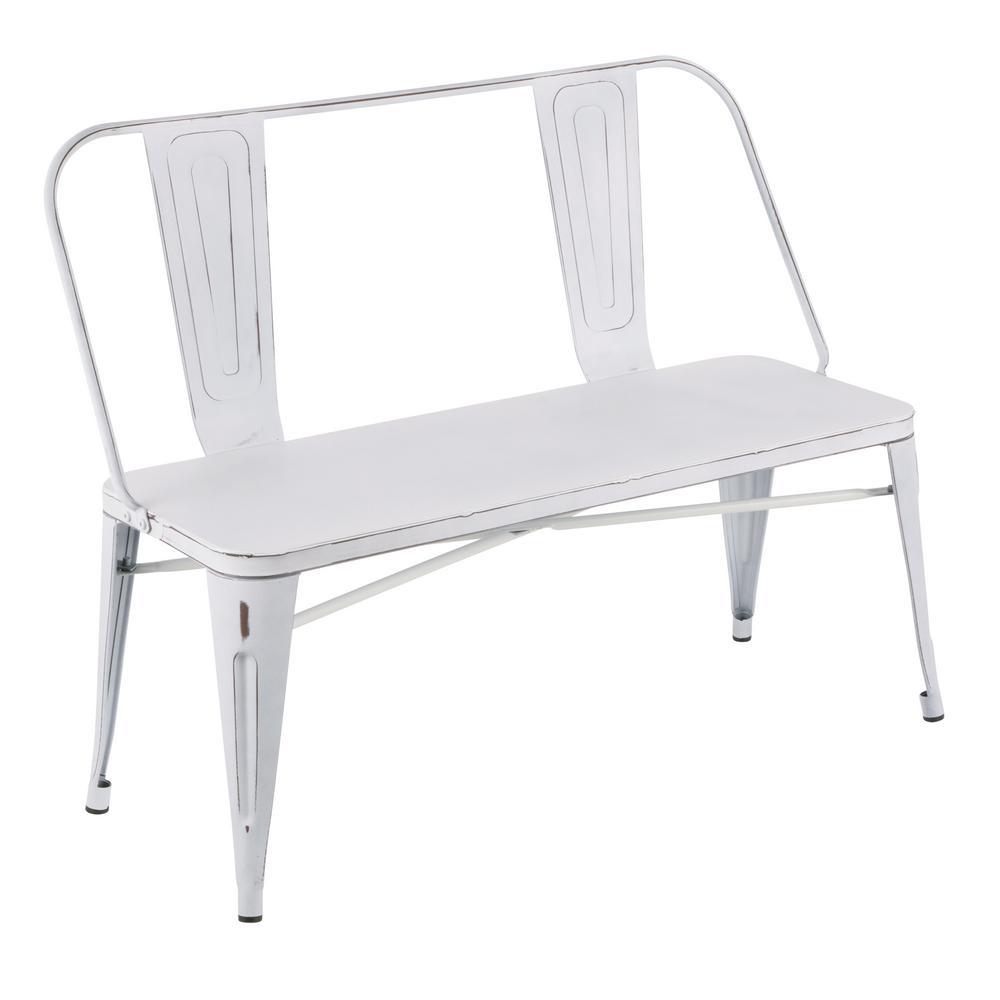Strange Lumisource Oregon Vintage White Metal Bench Bc Ormtl Vw Bralicious Painted Fabric Chair Ideas Braliciousco