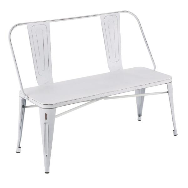 Remarkable Lumisource Oregon Vintage White Metal Bench Bc Ormtl Vw Theyellowbook Wood Chair Design Ideas Theyellowbookinfo