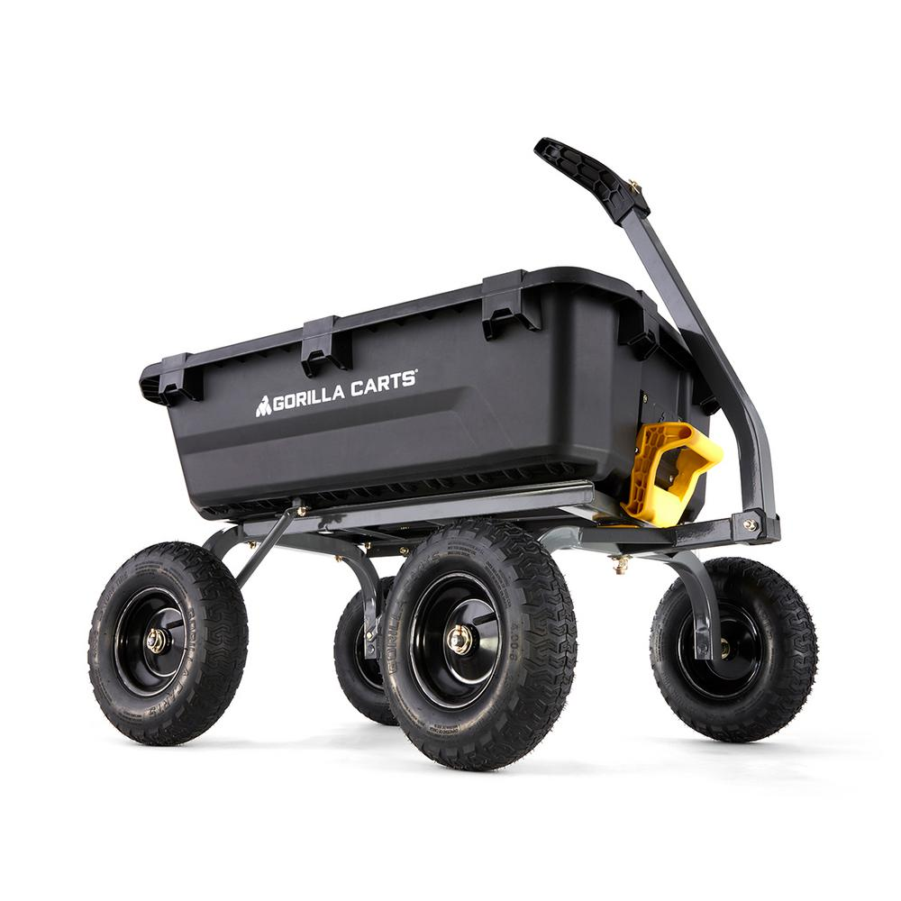 Capacity Towed-Pulled Handle Pneumatic Tire Plastic Bin Yard Dump Cart 1,200 lb