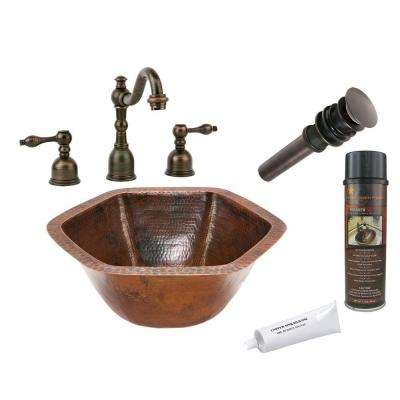 All In One Hexagon Under Counter Hammered Copper Bathroom Sink In Oil  Rubbed Bronze