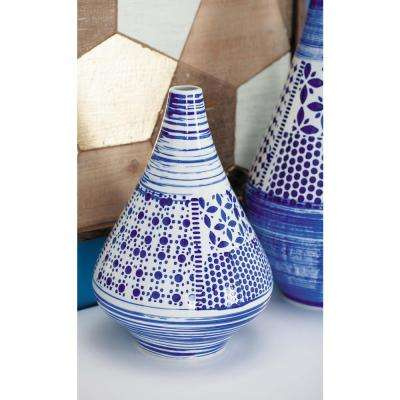 13 in. Oriental Blue and White Decorative Vase
