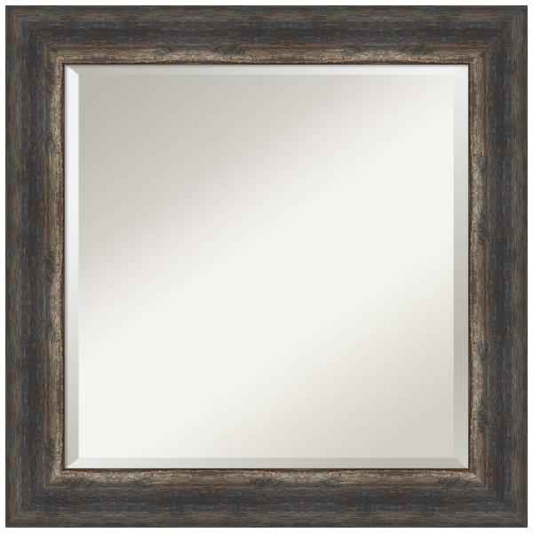 Medium Square Bark Rustic Char Beveled Glass Casual Mirror (25.25 in. H x 25.25 in. W)