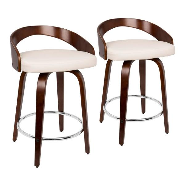 Grotto 24 in. Cherry and White Faux Leather Counter Stool (Set of 2)