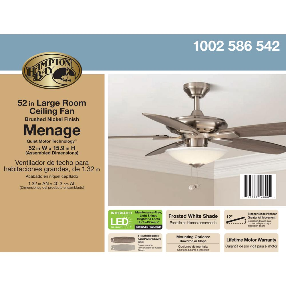Hampton Bay Menage 52 in. Integrated LED Indoor Low Profile Brushed on