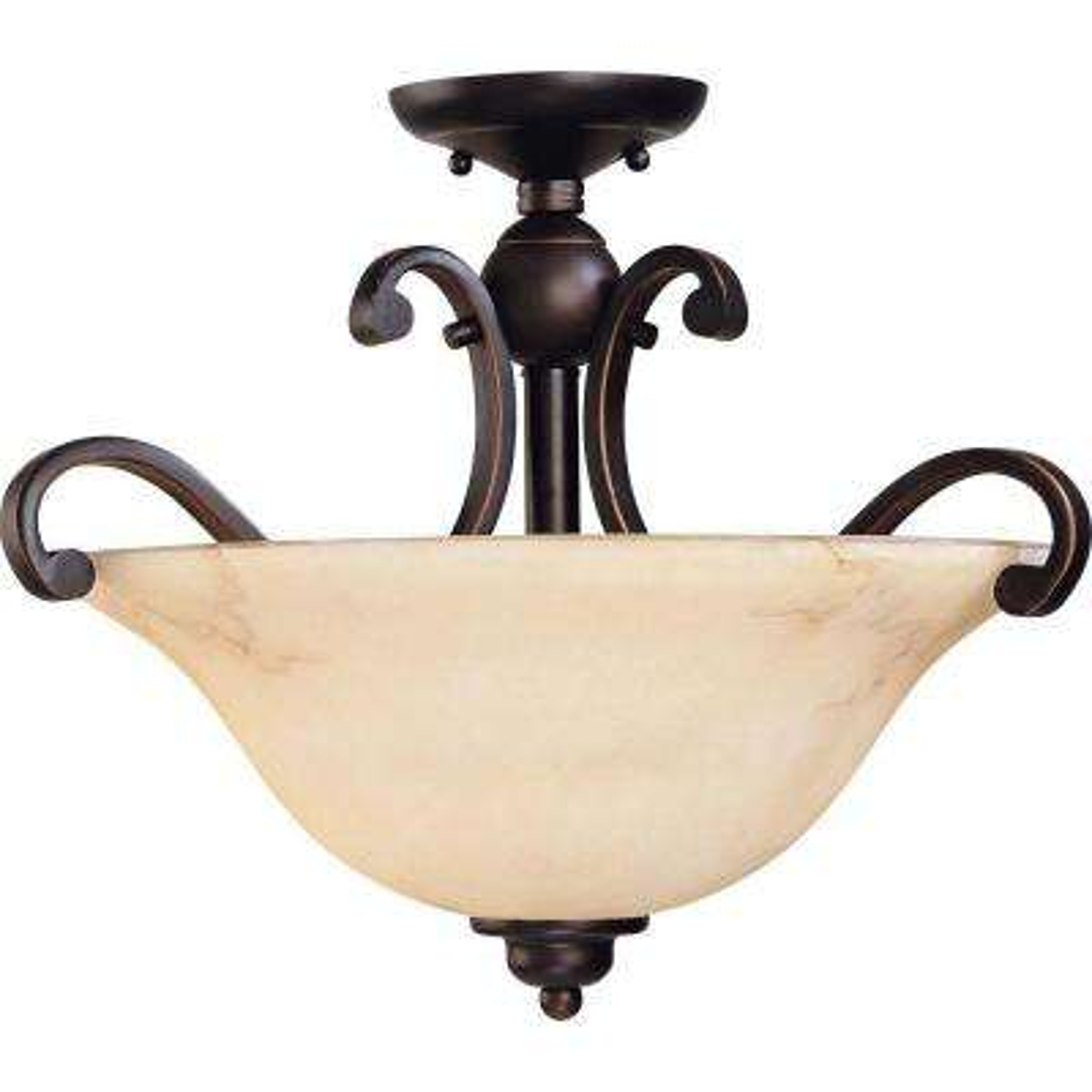 Vala 3-Light Copper Espresso Semi-Flushmount Light with Honey Marble Glass