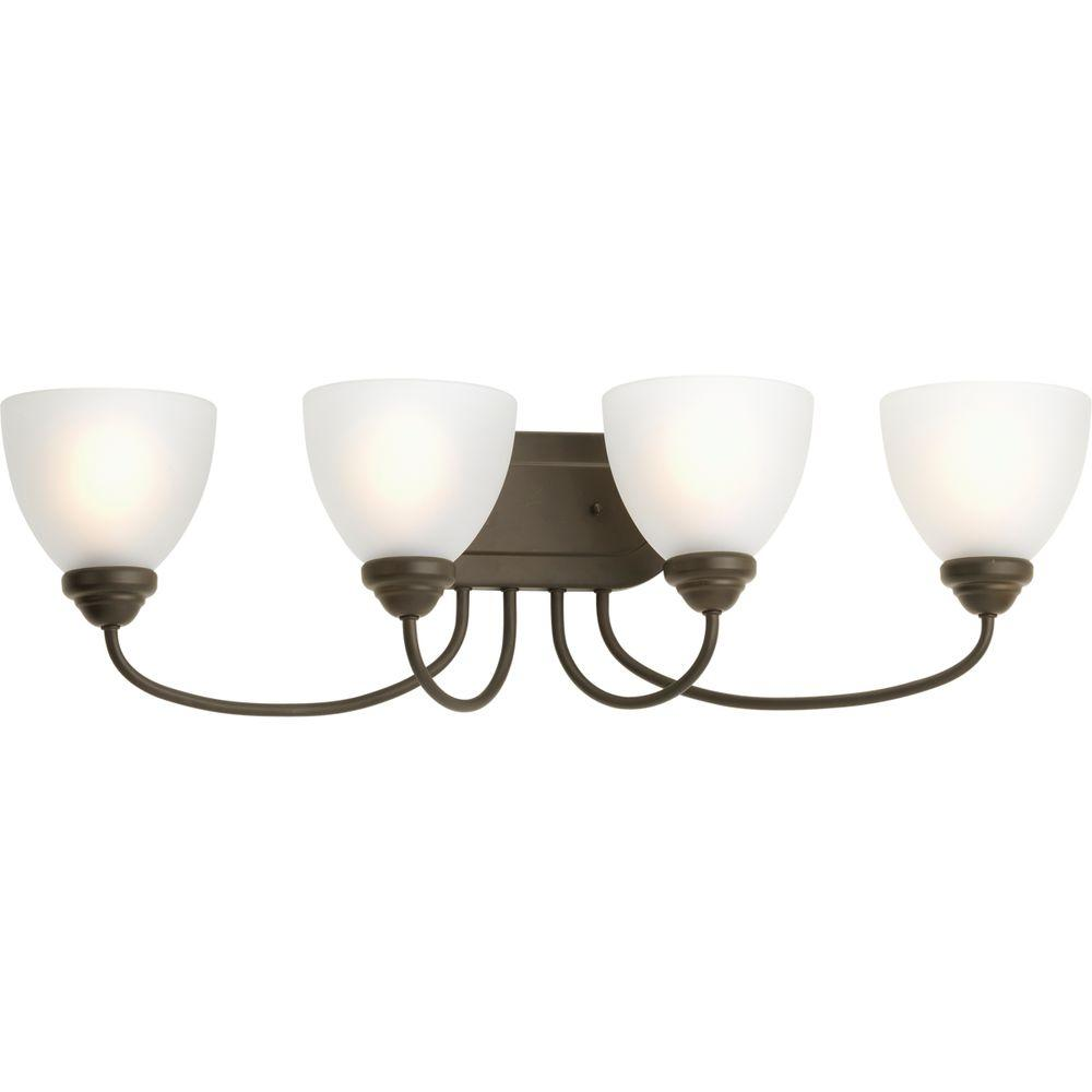 Progress Lighting Heart Collection 4-Light Antique Bronze Vanity Light with Etched Glass Shades