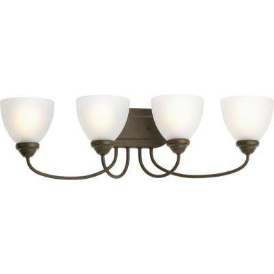 Heart Collection 4-Light Antique Bronze Bathroom Vanity Light with Glass Shades