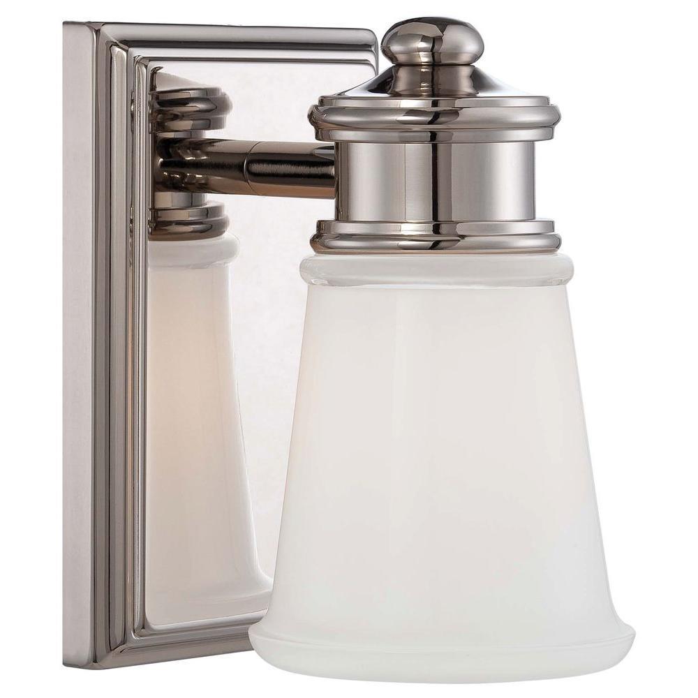 1-Light Polished Nickel Vanity Light