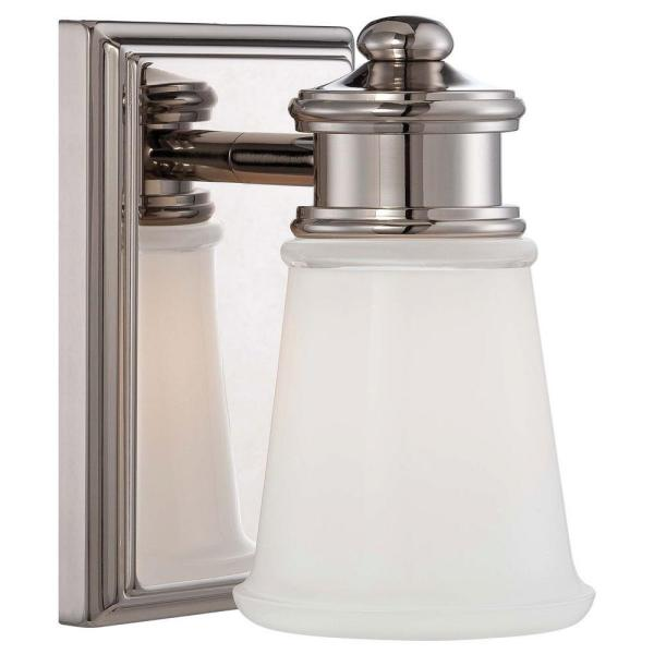 1-Light Polished Nickel Vanity Light