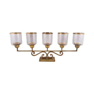 Hacienda 14 in. x 41 in. Antique Brass and Clear glass Candle Holder