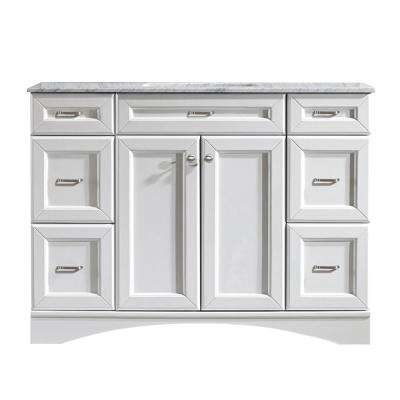Naples 48 in. W x 22 in. D x 35 in. H Vanity in White with Marble Vanity Top in White with Basin