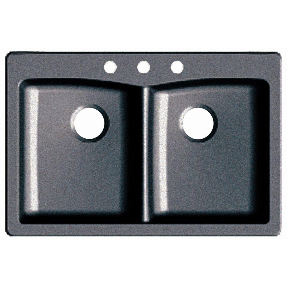 Dual Drop In UnderMount Granite Composite 33 In. 3 Hole Double Bowl Kitchen
