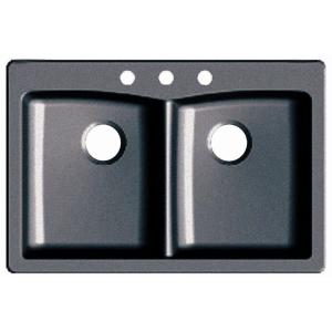 Glacier Bay Dual Mount Composite 33 inch 3-Hole Double Bowl Kitchen Sink in Slate by Glacier Bay