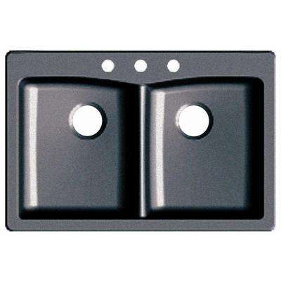 Dual Drop-in UnderMount Granite Composite 33 in. 3-Hole Double Bowl Kitchen Sink in Slate