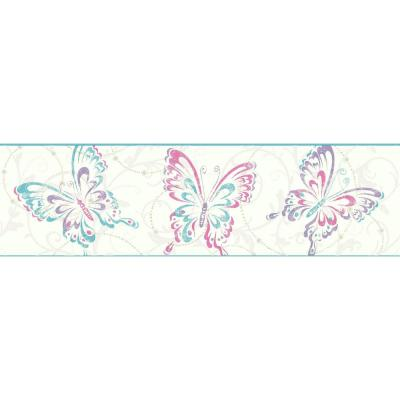 Growing Up Kids Butterfly/Scroll Removable Wallpaper Border